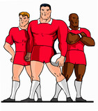 rugby 3 players red standing cartoon style poster