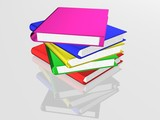 the books combined in a pile. 3d image. poster