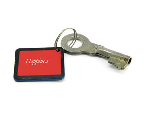 "key with the inscription ""happiness""."