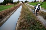 drain, motor bike , road poster