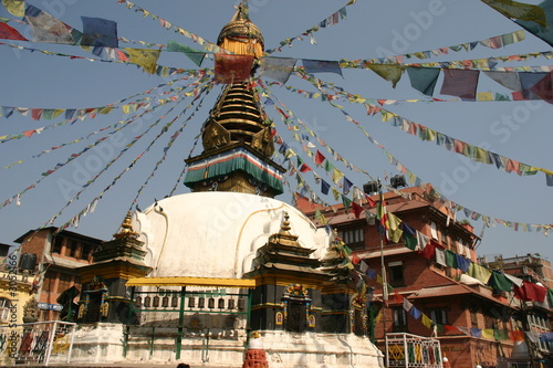 katmandu temple with flags