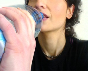 drinking water close-up