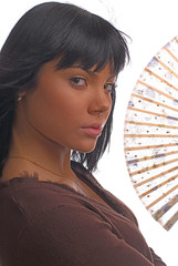 the girl with a fan