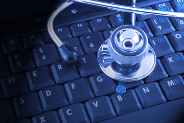 laptop and stethoscope