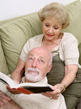 reading to bored husband poster
