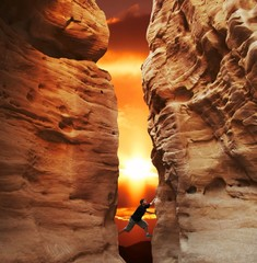 climbing on sunset