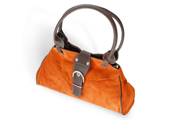 Orange Woman purse (hand-bag) isolated