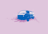 retro illustration of old stylish volkswagen trans poster