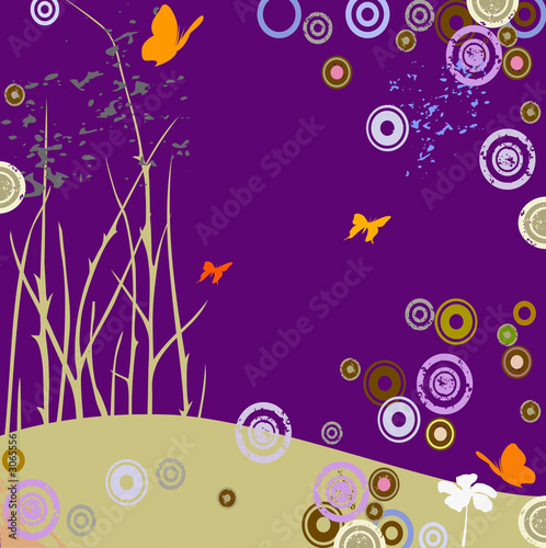 Foto op Canvas Violet composition with butterflies and circles