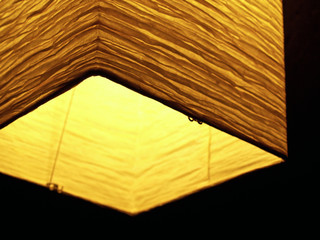 asia: style: crinkly paper lantern, brightly-lit