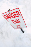 thin ice warning sign poster