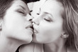 canvas print picture girls kiss