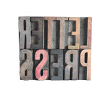the word 'letterpress' in wood type