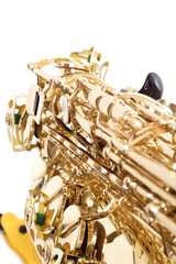closeup of a sax