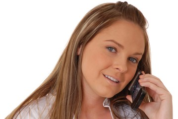 lovely brunette woman on telephone