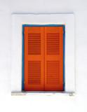 orange window, santorini, greece poster