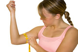 khollie measuring her bicep with tape measure poster