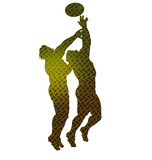 rugby lineout catch silhoutte checker plate poster