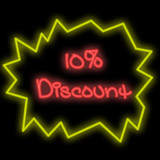 neon signboard - 10 percent discount poster