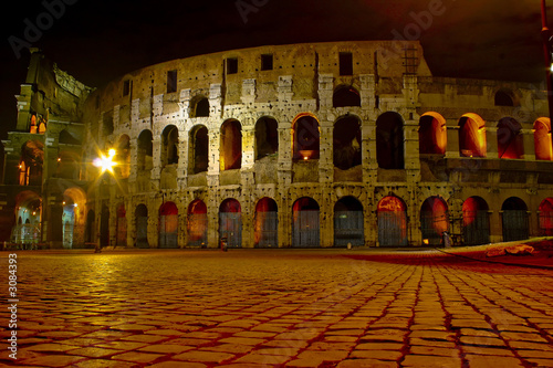illuminated coliseum