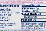 nutrition facts poster