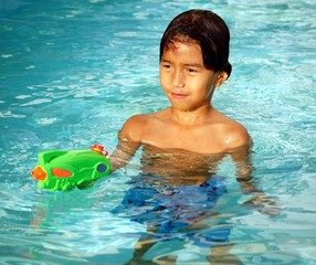 boy in a swimming pool