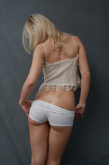 blouse and white panties
