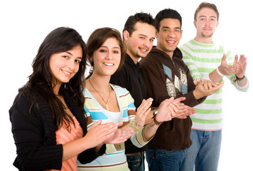 group of casual young people applauding