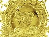 molten golden liquid/material. abstract. shape poster