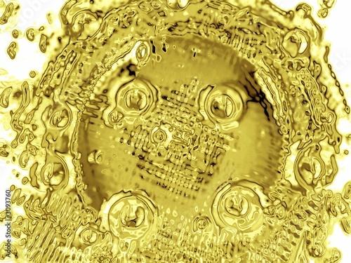 poster of molten golden liquid/material. abstract. shape
