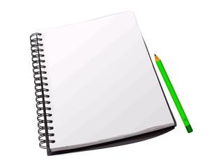 cahier à spirales et son crayon