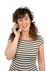 smiling student woman talking with phone