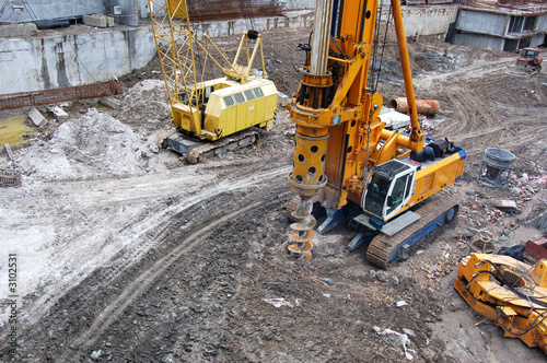 caterpillar tractors on a construction site - 3102531