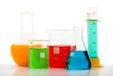 chemistry bottles with liquid inside poster