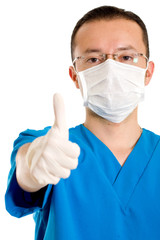 male surgeon with thumbs up