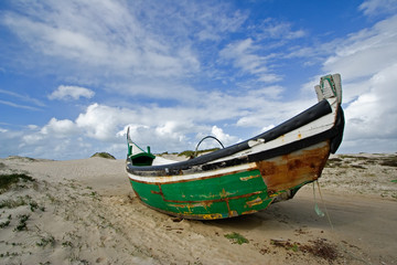 a fishboat wreck on the coast