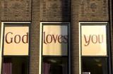 god loves you windows poster