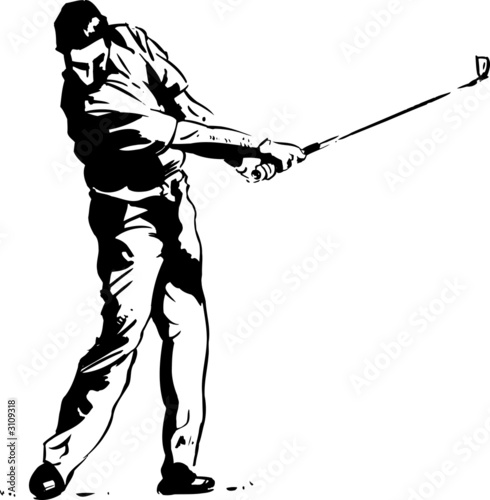 the golf swing pose - one of a series of instructi