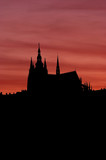 outline of cathedral of st vitus - evening scene poster