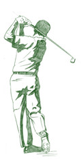 the golf swing pose - one of a series of instructional illustrat