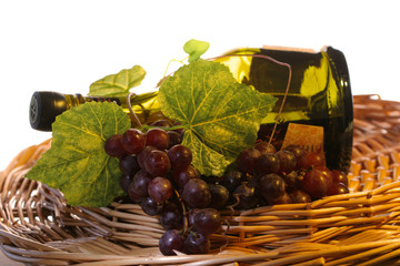 grapes with leaf and wine in a basket