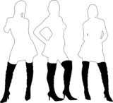 ladies in boots outline poster