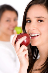 healthy girl eating an apple