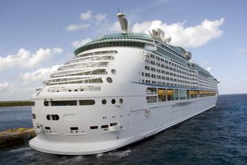 white luxury cruise ship in port