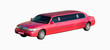 wedding pink red car limo bride groom together