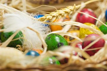 easter eggs in straw nest in basket