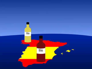 spanish wine with map