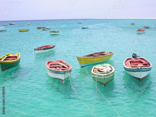 Leinwanddruck Bild resting boats