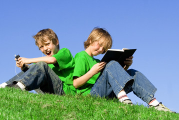 children relaxing outdoors
