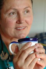 nurse on coffee break